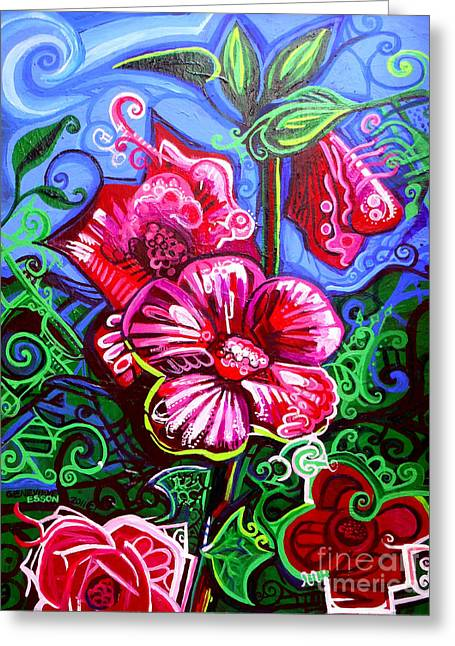 Magenta Fleur Symphonic Zoo I Greeting Card by Genevieve Esson