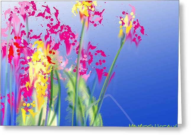 Fushia Greeting Cards - Magenta Flowers on Blue Greeting Card by Maureen Kealy