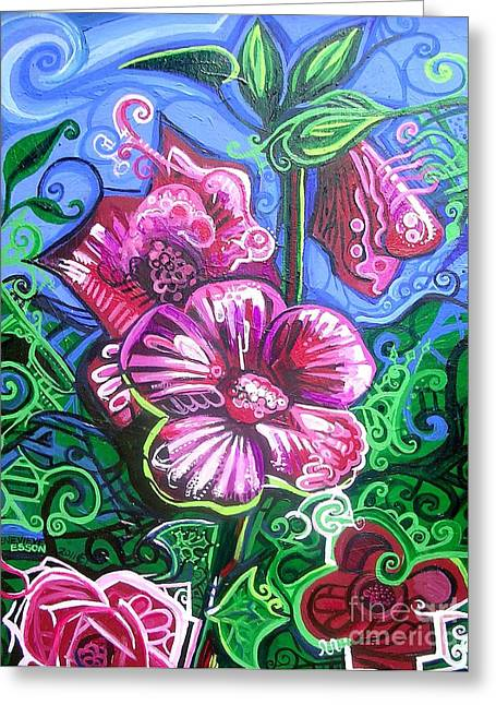 Flowers Stretched Prints Greeting Cards - Magenta Fluer Symphonic Zoo II Greeting Card by Genevieve Esson