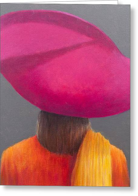 Woman Head Greeting Cards - Magenta Hat, Saffron Jacket, 2014 Oil On Canvas Greeting Card by Lincoln Seligman