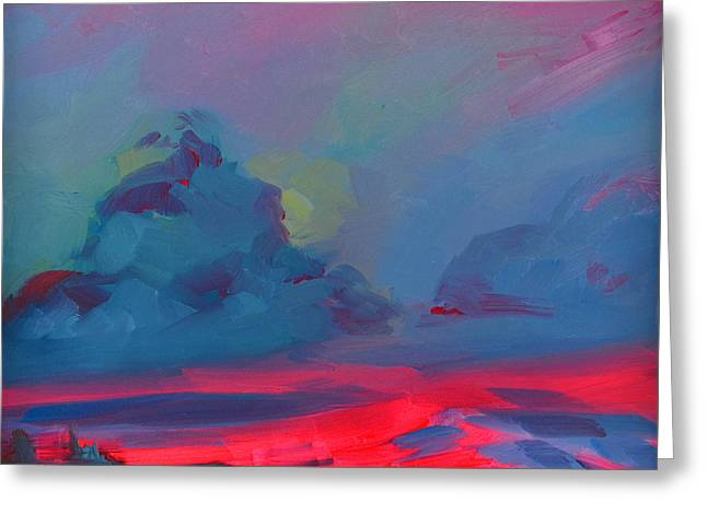 Blue And Purple Sea Greeting Cards - Magenta Landscape Greeting Card by Patricia Awapara