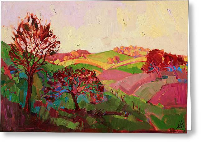 Loose Style Paintings Greeting Cards - Magenta Lights Greeting Card by Erin Hanson