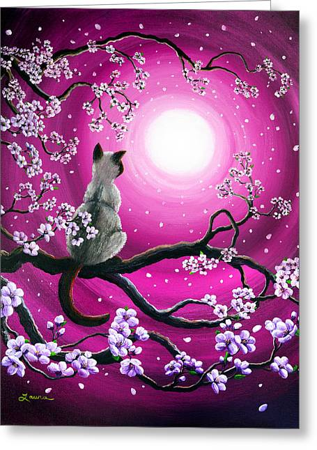Magenta Morning Sakura Greeting Card by Laura Iverson