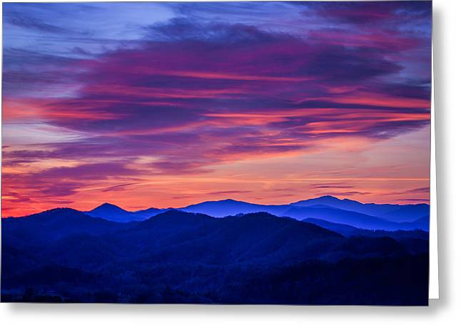 Smoky Greeting Cards - Magenta Mountain Majesty Greeting Card by Mike Lang