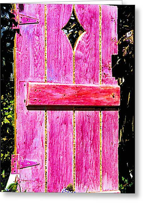 Collaborative Greeting Cards - Magenta Painted Door in Garden  Greeting Card by Asha Carolyn Young and Daniel Furon