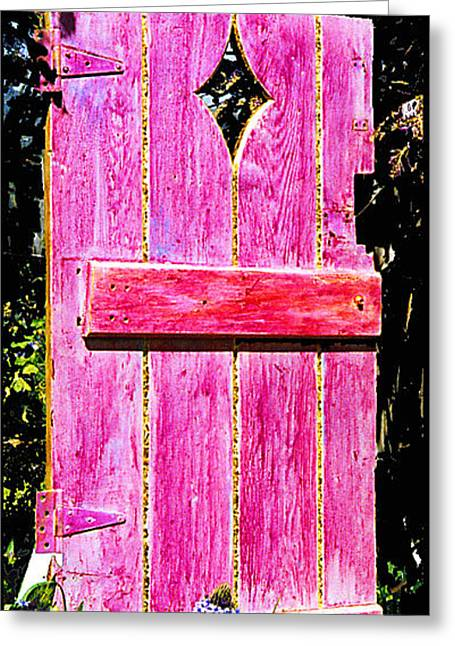 Magenta Painted Door In Garden  Greeting Card by Asha Carolyn Young and Daniel Furon
