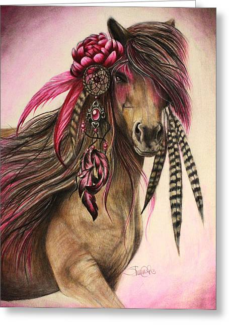 Eagle Feathers Greeting Cards - Magenta Warrior  Greeting Card by Sheena Pike