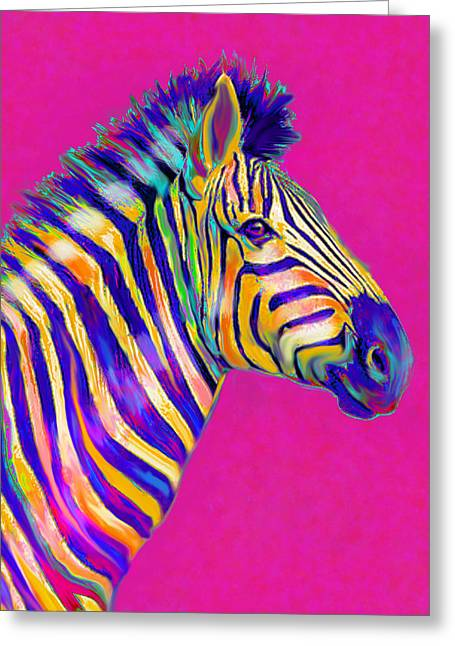 Magenta Zebra Greeting Card by Jane Schnetlage