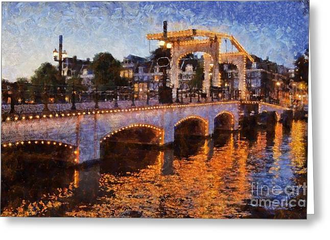 Magere Brug Bridge In Amsterdam Greeting Card by George Atsametakis