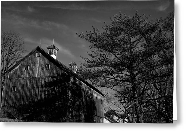 Metal Sheet Greeting Cards - Magestic Barn and Trees Greeting Card by Anthony Ackerman
