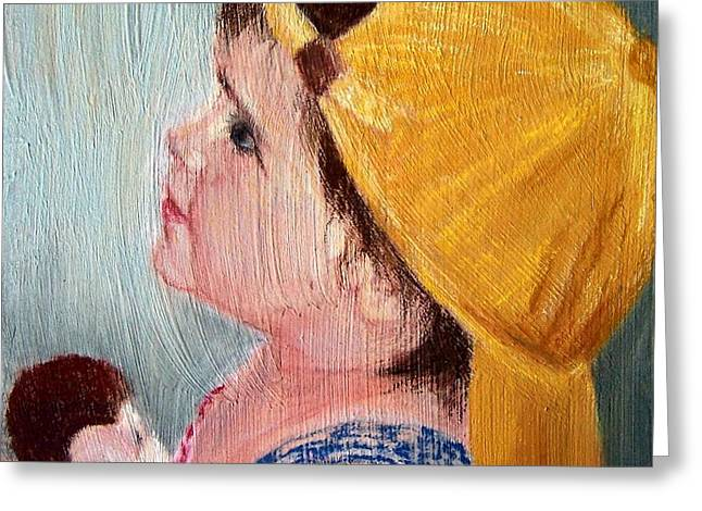 Child Toy Pastels Greeting Cards - Maggie and George Greeting Card by Mary Lynne Powers