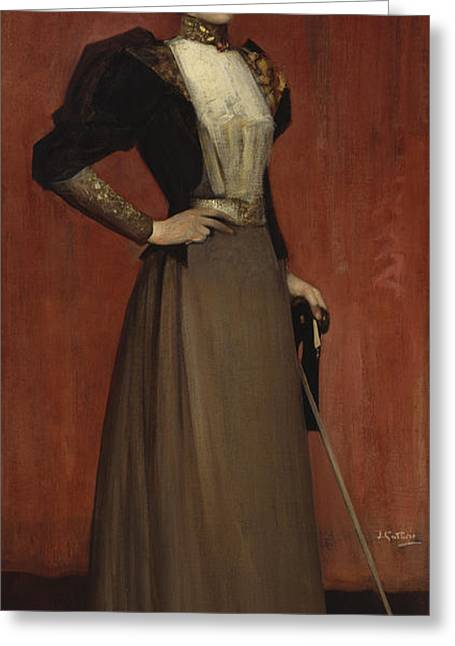Full-length Portrait Greeting Cards - Maggie Hamilton Greeting Card by Sir James Guthrie
