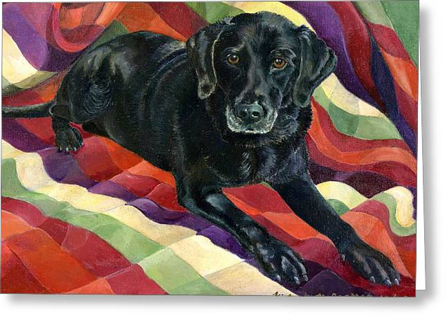 Black Lab Puppy Greeting Cards - Maggie Lennon Greeting Card by Kimberly McSparran