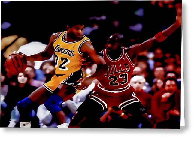 Michael Jordan Greeting Cards - Magic and Jordan at Work Greeting Card by Brian Reaves
