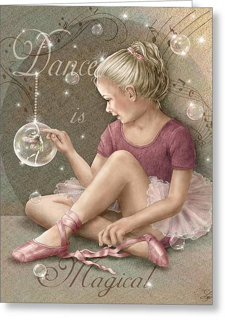 Ballerina Mixed Media Greeting Cards - Magic Ballerina Greeting Card by Beverly Levi-Parker