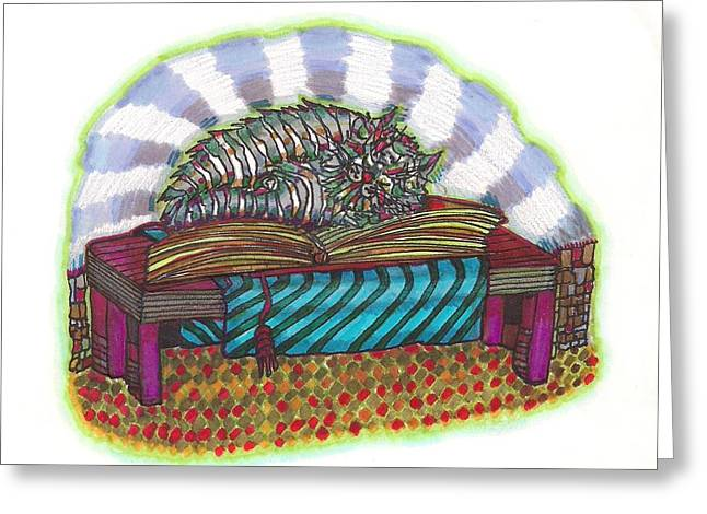 Table Cloth Drawings Greeting Cards - Magic Book Greeting Card by Joy Calonico