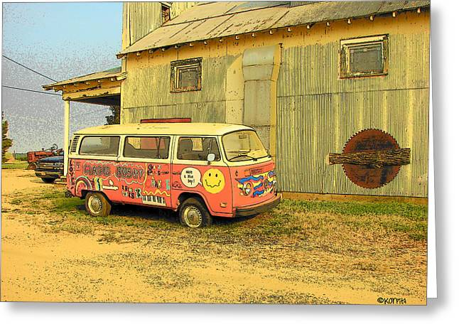 Magic Bus Greeting Cards - Old Volkswagen - Magic Bus Greeting Card by Rebecca Korpita