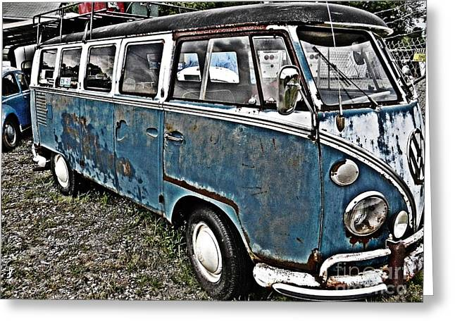 Magic Bus Greeting Cards - Magic Bus VW Van Greeting Card by JW Hanley