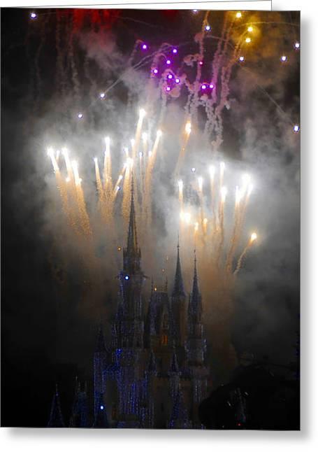 Magic Kingdom Greeting Cards - Magic Castle Night Greeting Card by David Lee Thompson
