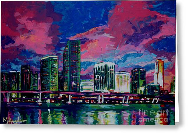 Miami Paintings Greeting Cards - Magic City Greeting Card by Maria Arango