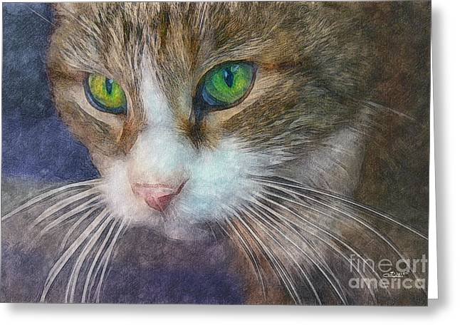 Postwork Greeting Cards - Magic Eyes Greeting Card by Jutta Maria Pusl