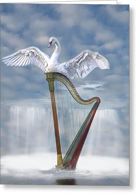 Digital Design Greeting Cards - Magic harp  Greeting Card by Angel Jesus De la Fuente