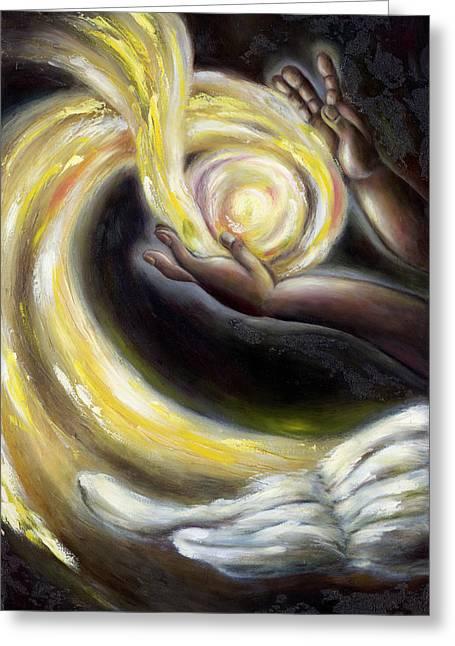 Angel work Paintings Greeting Cards - Magic Greeting Card by Hiroko Sakai
