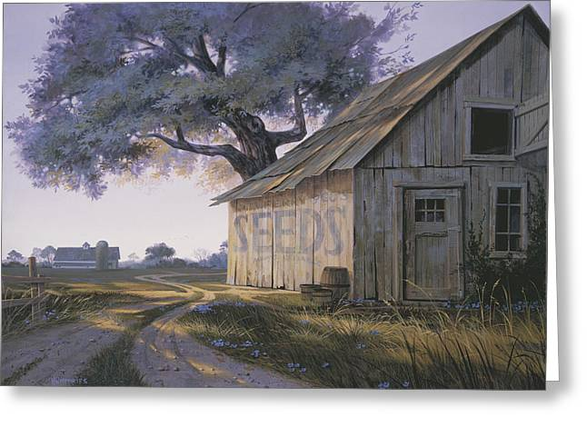 Old Country Roads Paintings Greeting Cards - Magic Hour Greeting Card by Michael Humphries