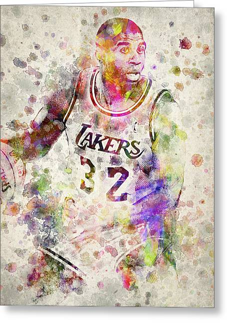 Playoff Greeting Cards - Magic Johnson Greeting Card by Aged Pixel