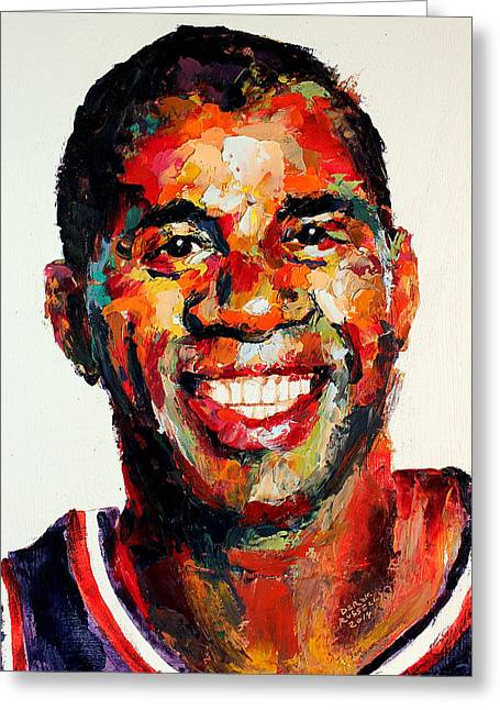 Magic Johnson Portrait Greeting Cards - Magic Johnson Greeting Card by Derek Russell