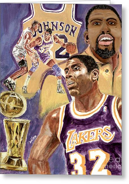 Larry Bird Greeting Cards - Magic Johnson Greeting Card by Israel Torres