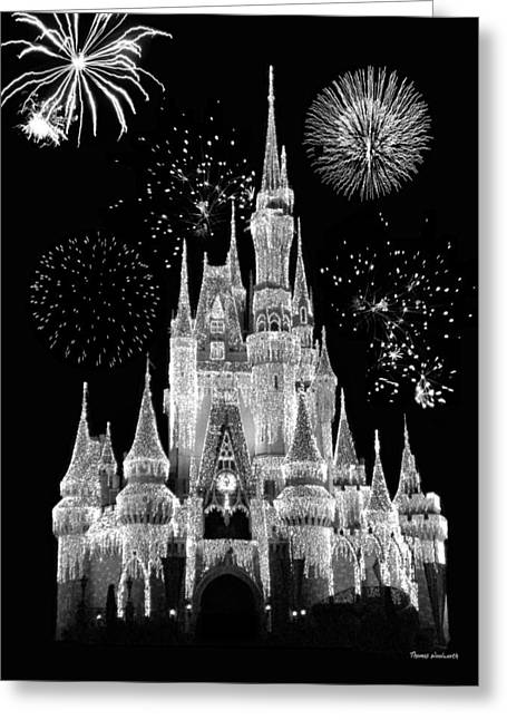 Walt Disney World Photographs Greeting Cards - Magic Kingdom Castle in Black and White with Fireworks Walt Disney World Greeting Card by Thomas Woolworth