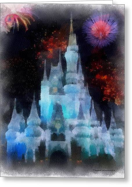 Hospital Theme Greeting Cards - Magic Kingdom Castle In Frosty Light Blue With Fireworks 01 Photo Art Greeting Card by Thomas Woolworth