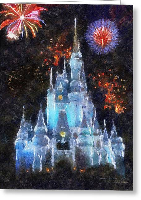 Hospital Theme Greeting Cards - Magic Kingdom Castle In Frosty Light Blue With Fireworks 02 Photo Art Greeting Card by Thomas Woolworth