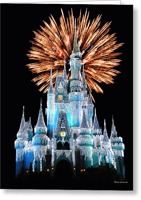 Walt Disney World Photographs Greeting Cards - Magic Kingdom Castle In Frosty Light Blue with Fireworks 02 Greeting Card by Thomas Woolworth