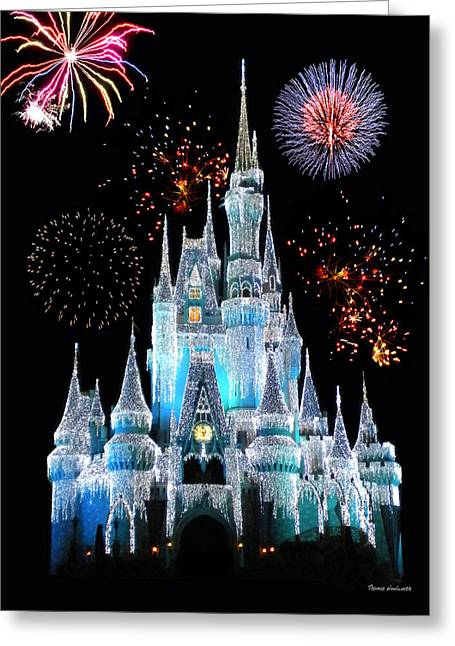 Xmas Greeting Cards - Magic Kingdom Castle In Frosty Light Blue with Fireworks 06 Greeting Card by Thomas Woolworth
