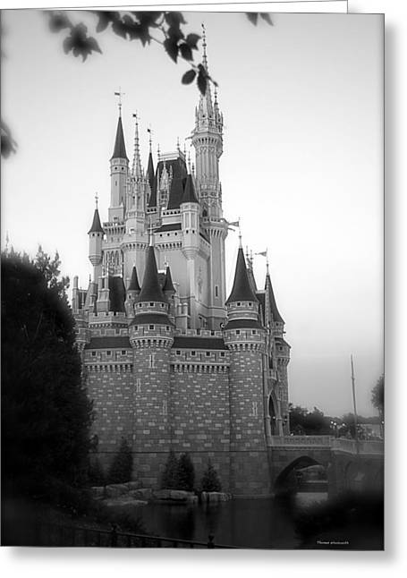 World Showcase Lagoon Greeting Cards - Magic Kingdom Castle Side View in Black and White Greeting Card by Thomas Woolworth