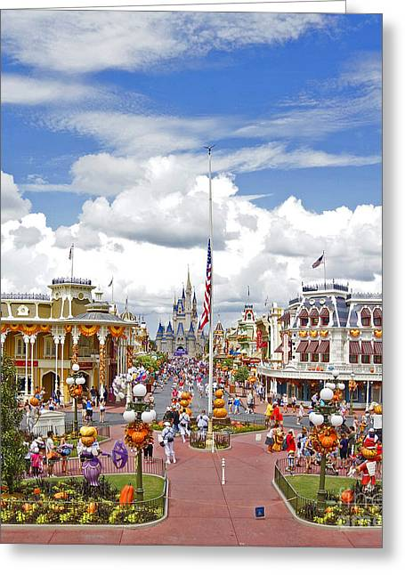Flag Pyrography Greeting Cards - Magic Kingdom - Main St. USA Greeting Card by AK Photography