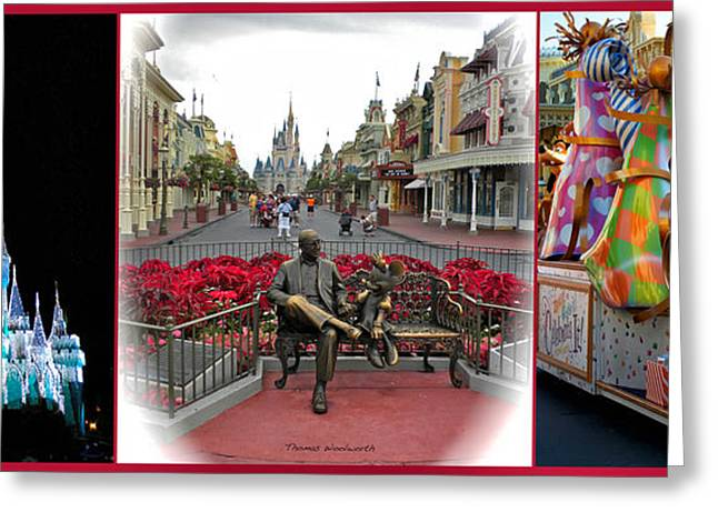 Princes Greeting Cards - Magic Kingdom Walt Disney World 3 Panel Composite Greeting Card by Thomas Woolworth