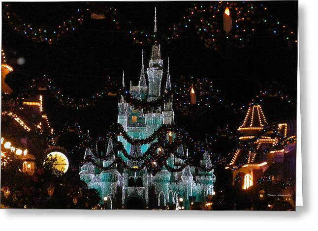 World Showcase Lagoon Greeting Cards - Magic Kingdom Xmas Castle In Frosty Light Blue Greeting Card by Thomas Woolworth