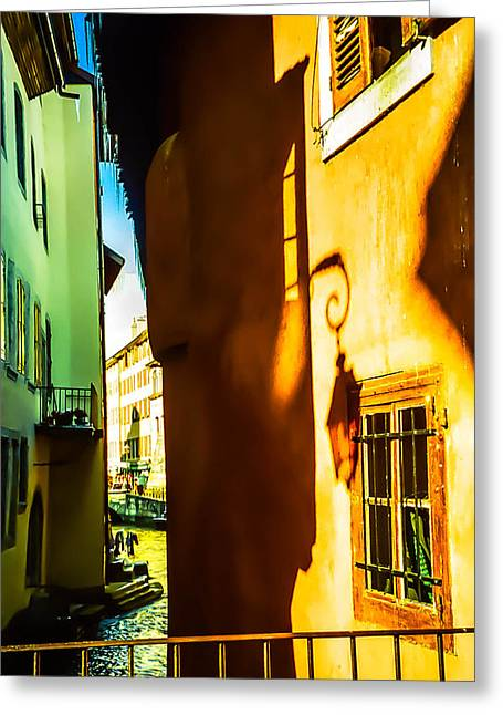 Magic Lantern On The Walls Of Annecy Greeting Card by Jenny Rainbow
