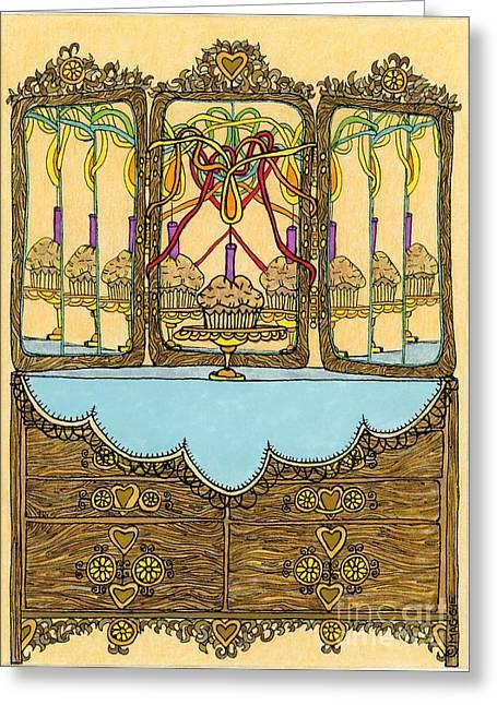 Culinary Drawings Greeting Cards - Magic Mirror - Cake  Greeting Card by Mag Pringle Gire