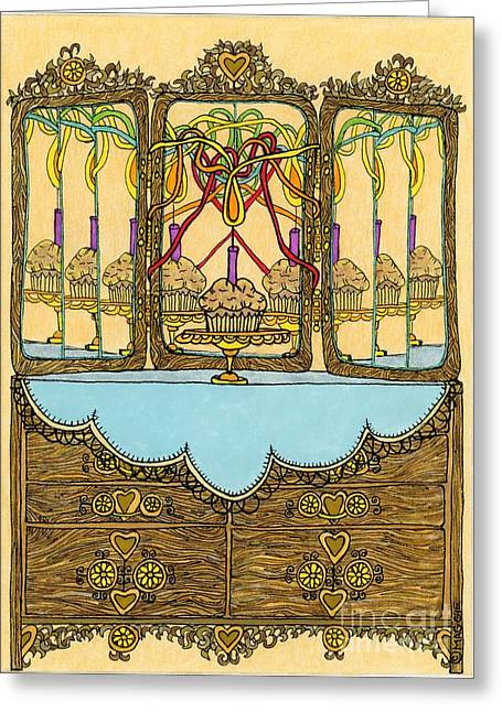 Culinary s Drawings Greeting Cards - Magic Mirror - Cake  Greeting Card by Mag Pringle Gire