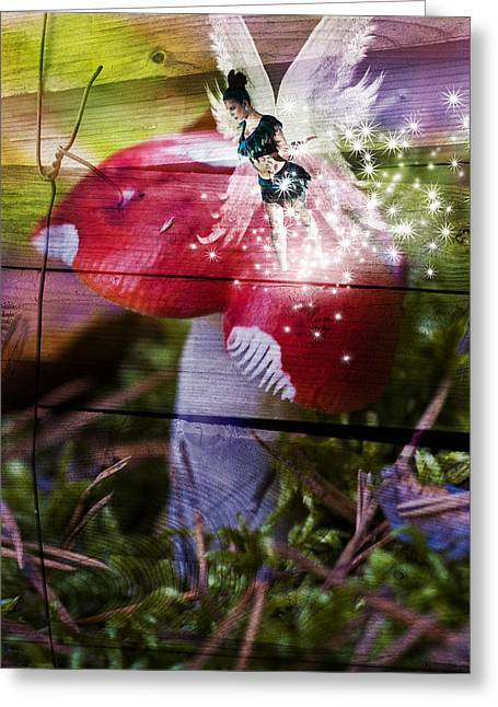Toadstools Digital Greeting Cards - Magic moshroom fairy  Greeting Card by Nathan Wright