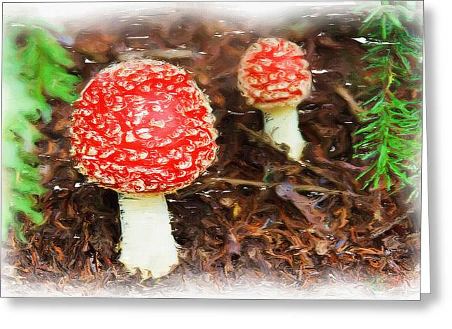 Poisonous Greeting Cards - Magic Mushrooms Greeting Card by Ayse Deniz