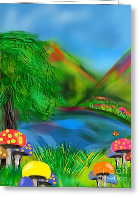 Children Story Book Digital Greeting Cards - Magic Mushrooms Greeting Card by Christine Fournier