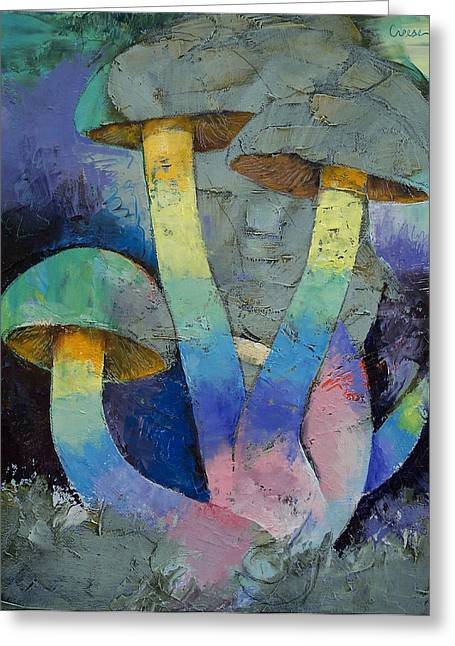 Lhuile Greeting Cards - Magic Mushrooms Greeting Card by Michael Creese