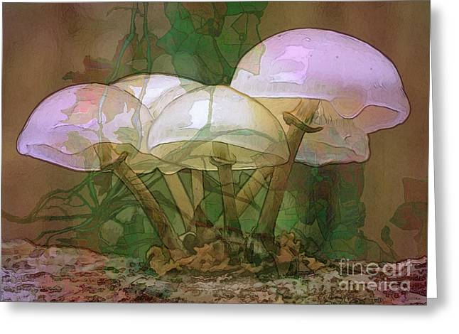 Hallucination Greeting Cards - Magic Mushrooms Greeting Card by Ursula Freer