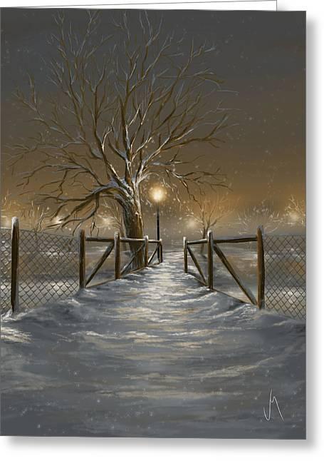 Snowy Trees Greeting Cards - Magic night Greeting Card by Veronica Minozzi
