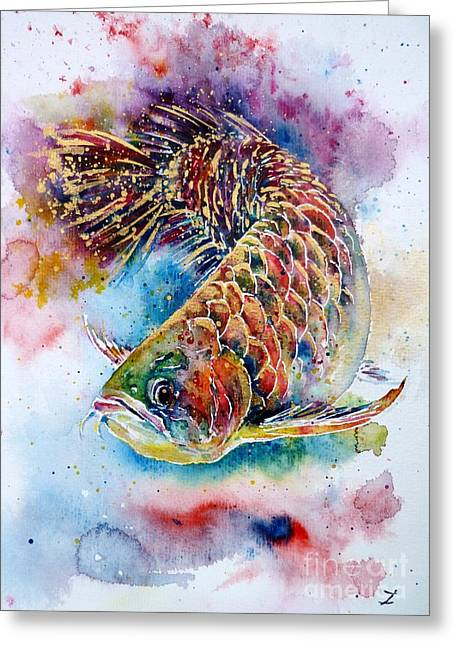 Good Luck Greeting Cards - Magic of Arowana Greeting Card by Zaira Dzhaubaeva